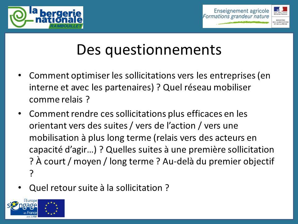 Des questionnements Comment optimiser les sollicitations vers les entreprises (en interne et avec les partenaires) ? Quel réseau mobiliser comme relai