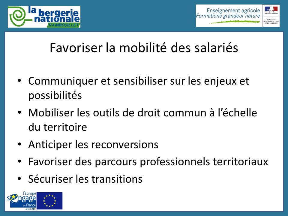 Favoriser la mobilité des salariés Communiquer et sensibiliser sur les enjeux et possibilités Mobiliser les outils de droit commun à léchelle du terri