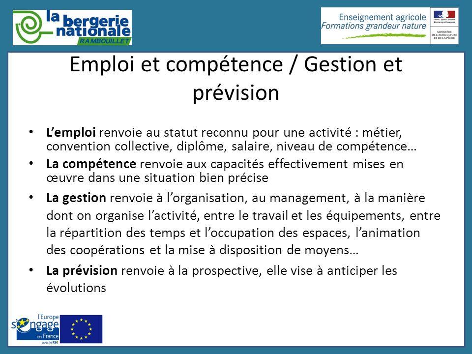 Emploi et compétence / Gestion et prévision Lemploi renvoie au statut reconnu pour une activité : métier, convention collective, diplôme, salaire, niv