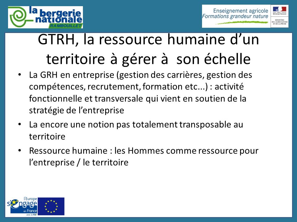 GTRH, la ressource humaine dun territoire à gérer à son échelle La GRH en entreprise (gestion des carrières, gestion des compétences, recrutement, for