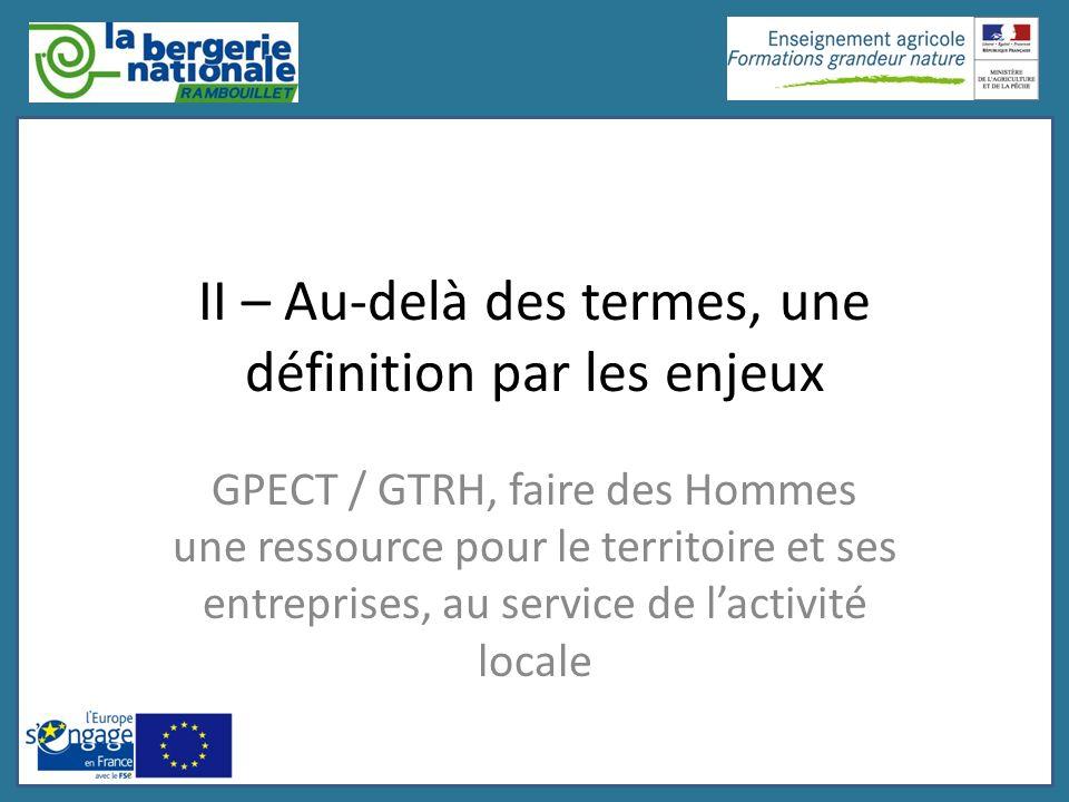 II – Au-delà des termes, une définition par les enjeux GPECT / GTRH, faire des Hommes une ressource pour le territoire et ses entreprises, au service