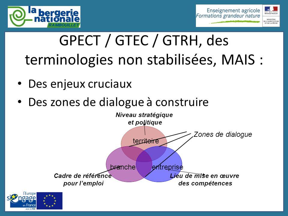 GPECT / GTEC / GTRH, des terminologies non stabilisées, MAIS : Des enjeux cruciaux Des zones de dialogue à construire territoire brancheentreprise Zon