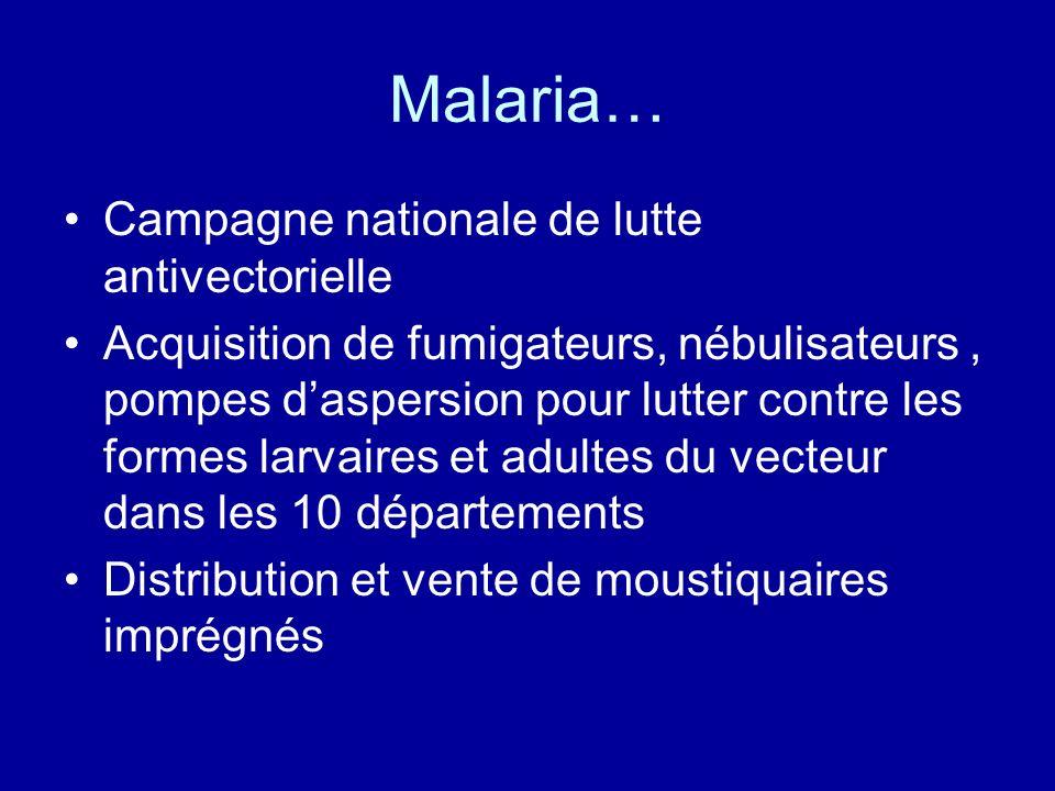 Malaria… Campagne nationale de lutte antivectorielle Acquisition de fumigateurs, nébulisateurs, pompes daspersion pour lutter contre les formes larvai
