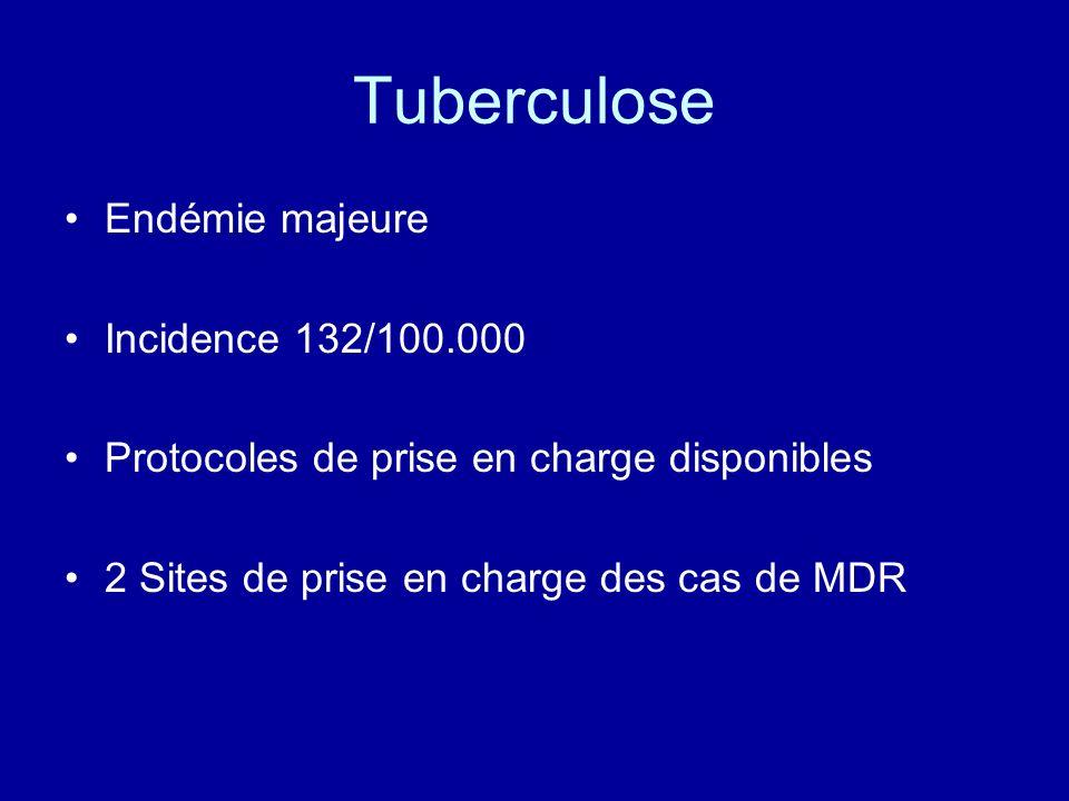 Tuberculose Endémie majeure Incidence 132/100.000 Protocoles de prise en charge disponibles 2 Sites de prise en charge des cas de MDR