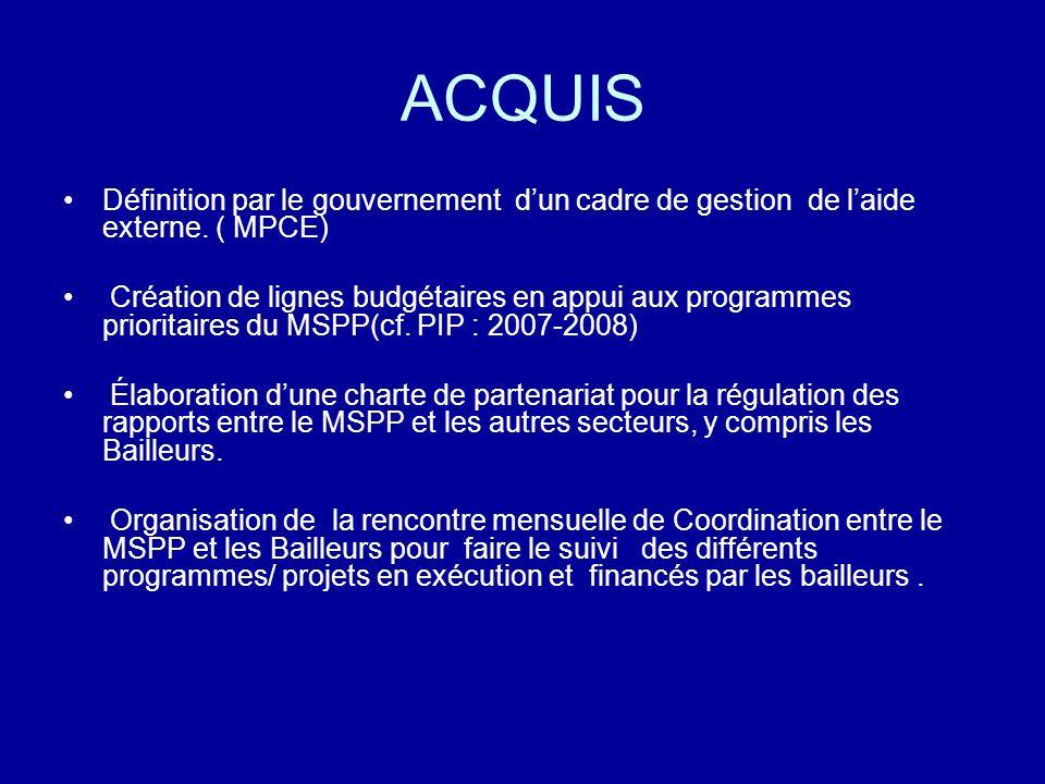 ACQUIS Définition par le gouvernement dun cadre de gestion de laide externe. ( MPCE) Création de lignes budgétaires en appui aux programmes prioritair