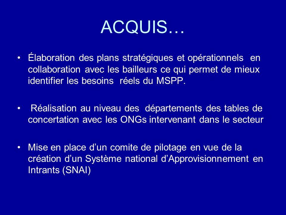 ACQUIS… Élaboration des plans stratégiques et opérationnels en collaboration avec les bailleurs ce qui permet de mieux identifier les besoins réels du