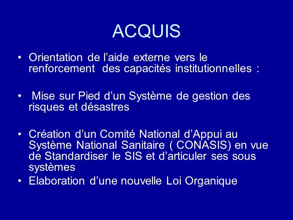 ACQUIS Orientation de laide externe vers le renforcement des capacités institutionnelles : Mise sur Pied dun Système de gestion des risques et désastr