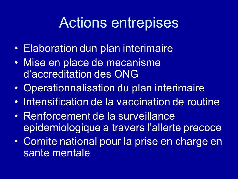 Actions entrepises Elaboration dun plan interimaire Mise en place de mecanisme daccreditation des ONG Operationnalisation du plan interimaire Intensif