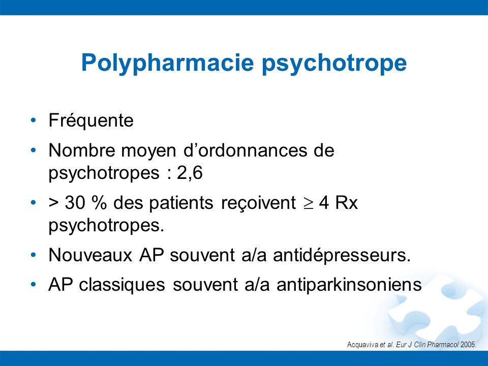 Polypharmacie psychotrope Fréquente Nombre moyen dordonnances de psychotropes : 2,6 > 30 % des patients reçoivent 4 Rx psychotropes. Nouveaux AP souve