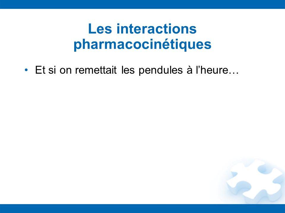 Les interactions pharmacocinétiques Et si on remettait les pendules à lheure…