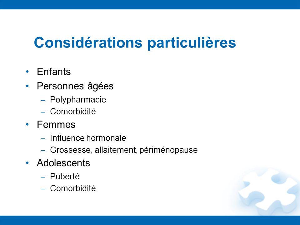 Considérations particulières Enfants Personnes âgées –Polypharmacie –Comorbidité Femmes –Influence hormonale –Grossesse, allaitement, périménopause Ad