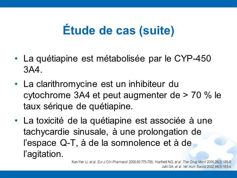 Étude de cas (suite) La quétiapine est métabolisée par le CYP-450 3A4. La clarithromycine est un inhibiteur du cytochrome 3A4 et peut augmenter de > 7