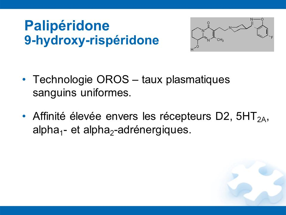 Palipéridone 9-hydroxy-rispéridone Technologie OROS – taux plasmatiques sanguins uniformes. Affinité élevée envers les récepteurs D2, 5HT 2A, alpha 1