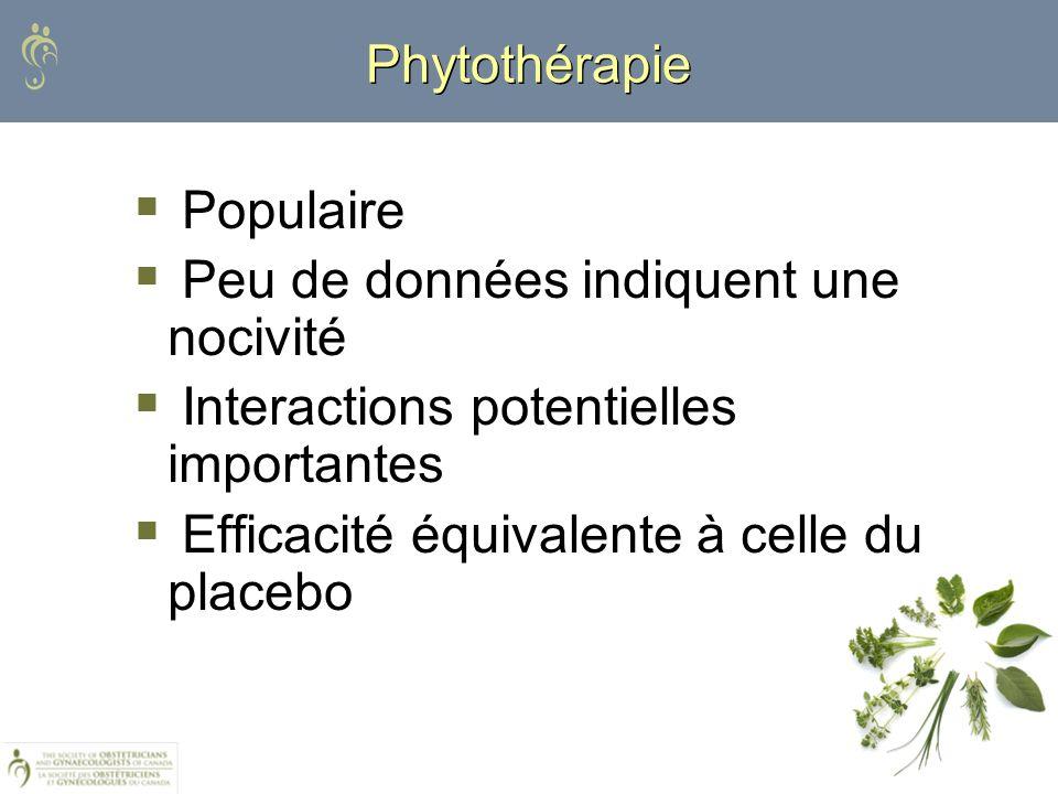 Phytothérapie Populaire Peu de données indiquent une nocivité Interactions potentielles importantes Efficacité équivalente à celle du placebo
