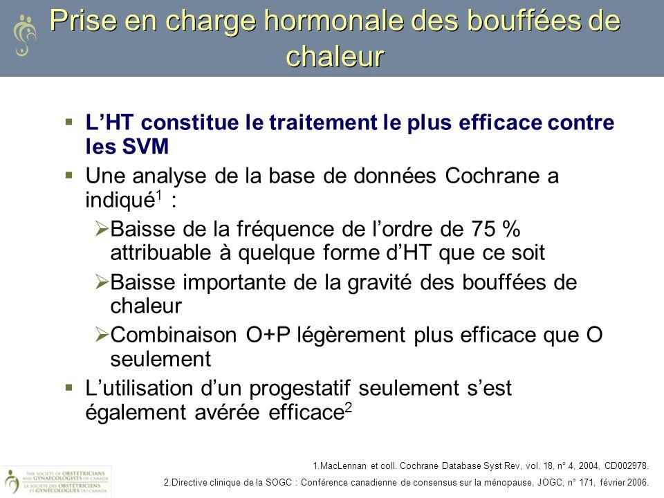 Prise en charge hormonale des bouffées de chaleur LHT constitue le traitement le plus efficace contre les SVM Une analyse de la base de données Cochra