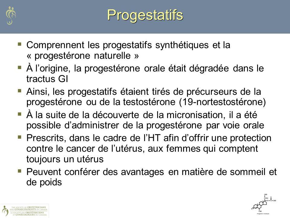 Progestatifs Comprennent les progestatifs synthétiques et la « progestérone naturelle » À lorigine, la progestérone orale était dégradée dans le tract