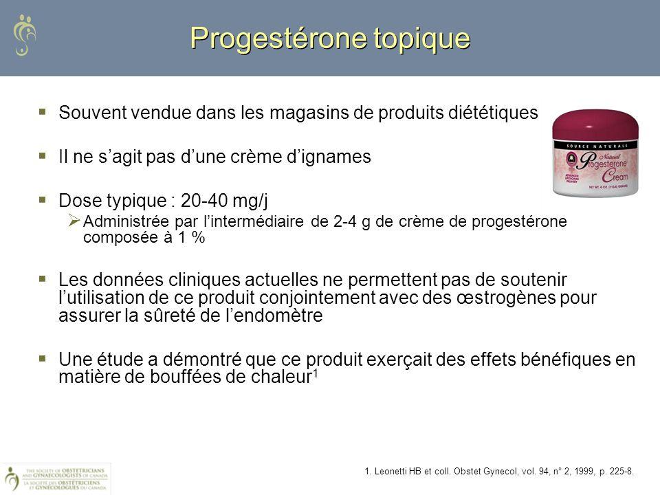 Progestérone topique Souvent vendue dans les magasins de produits diététiques Il ne sagit pas dune crème dignames Dose typique : 20-40 mg/j Administré