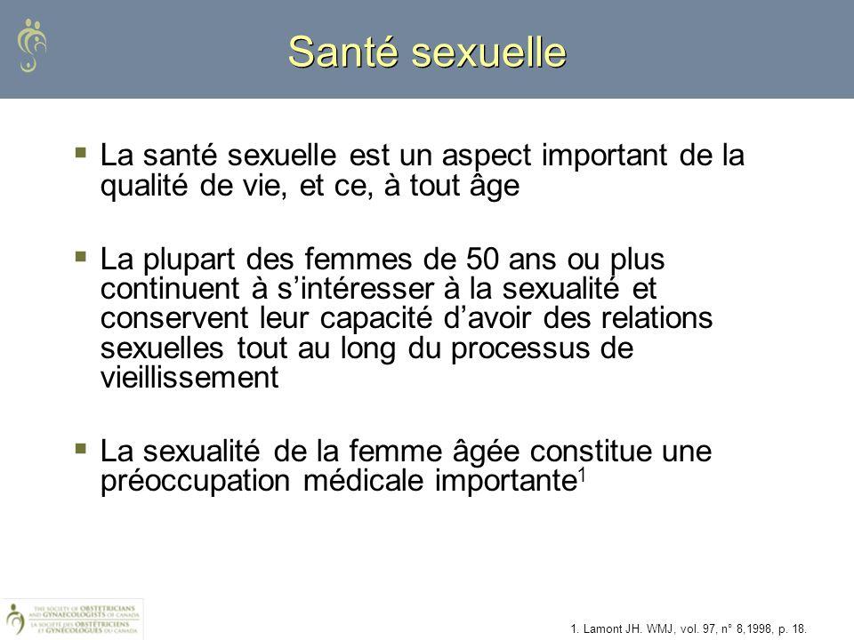 La santé sexuelle est un aspect important de la qualité de vie, et ce, à tout âge La plupart des femmes de 50 ans ou plus continuent à sintéresser à l