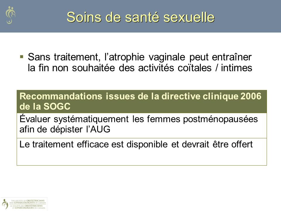 Sans traitement, latrophie vaginale peut entraîner la fin non souhaitée des activités coïtales / intimes Soins de santé sexuelle Le traitement efficac