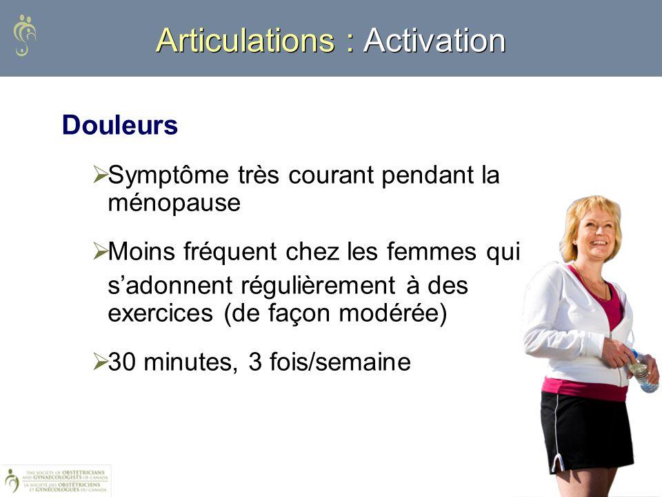 Articulations : Activation Douleurs Symptôme très courant pendant la ménopause Moins fréquent chez les femmes qui sadonnent régulièrement à des exerci