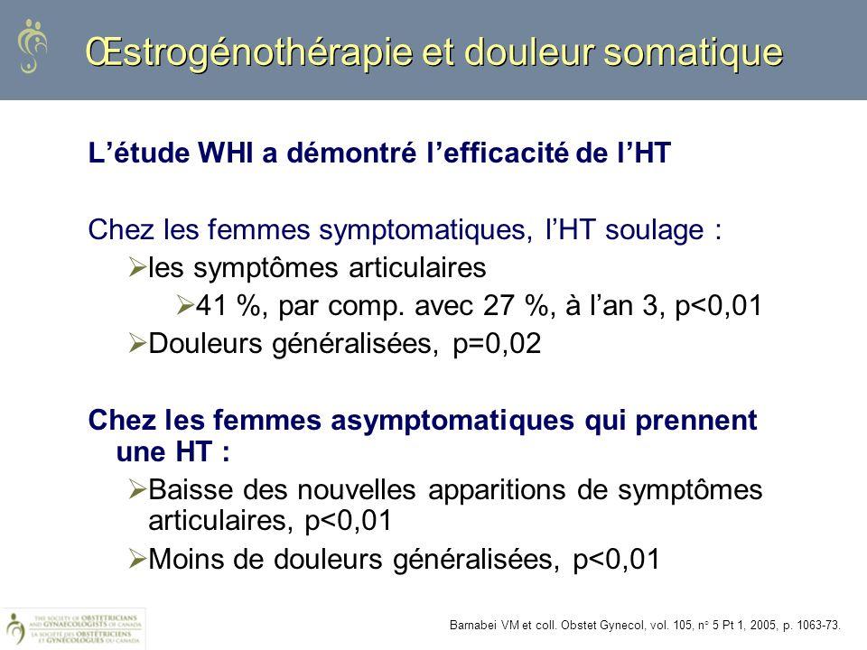 Œstrogénothérapie et douleur somatique Létude WHI a démontré lefficacité de lHT Chez les femmes symptomatiques, lHT soulage : les symptômes articulair