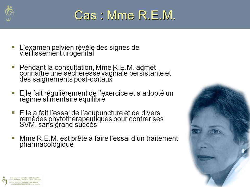 Cas : Mme R.E.M. Lexamen pelvien révèle des signes de vieillissement urogénital Pendant la consultation, Mme R.E.M. admet connaître une sécheresse vag