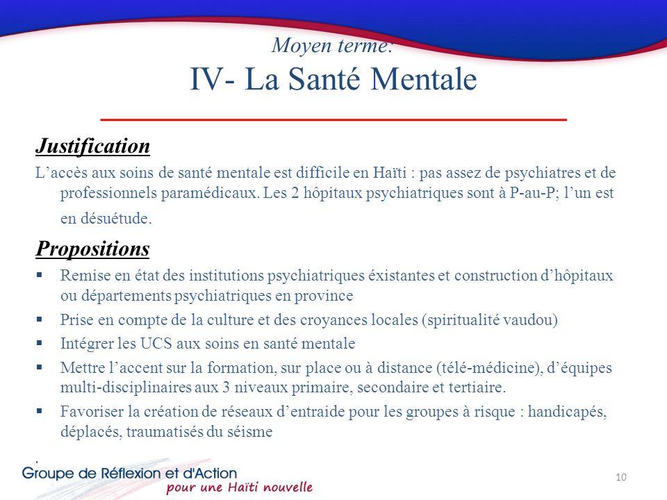 Moyen terme: IV- La Santé Mentale Justification Laccès aux soins de santé mentale est difficile en Haïti : pas assez de psychiatres et de professionnels paramédicaux.