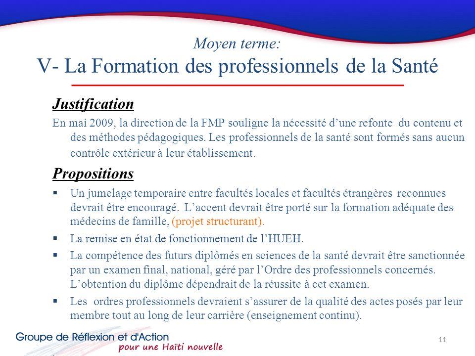Moyen terme: V- La Formation des professionnels de la Santé Justification En mai 2009, la direction de la FMP souligne la nécessité dune refonte du contenu et des méthodes pédagogiques.