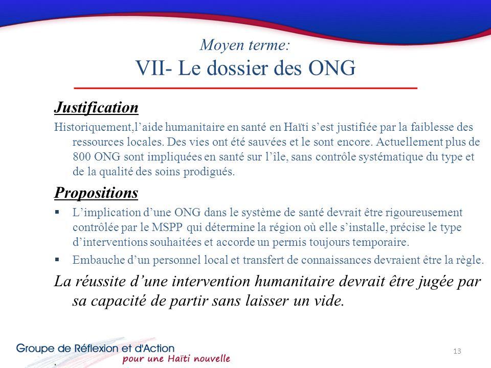Moyen terme: VII- Le dossier des ONG Justification Historiquement,laide humanitaire en santé en Haïti sest justifiée par la faiblesse des ressources locales.