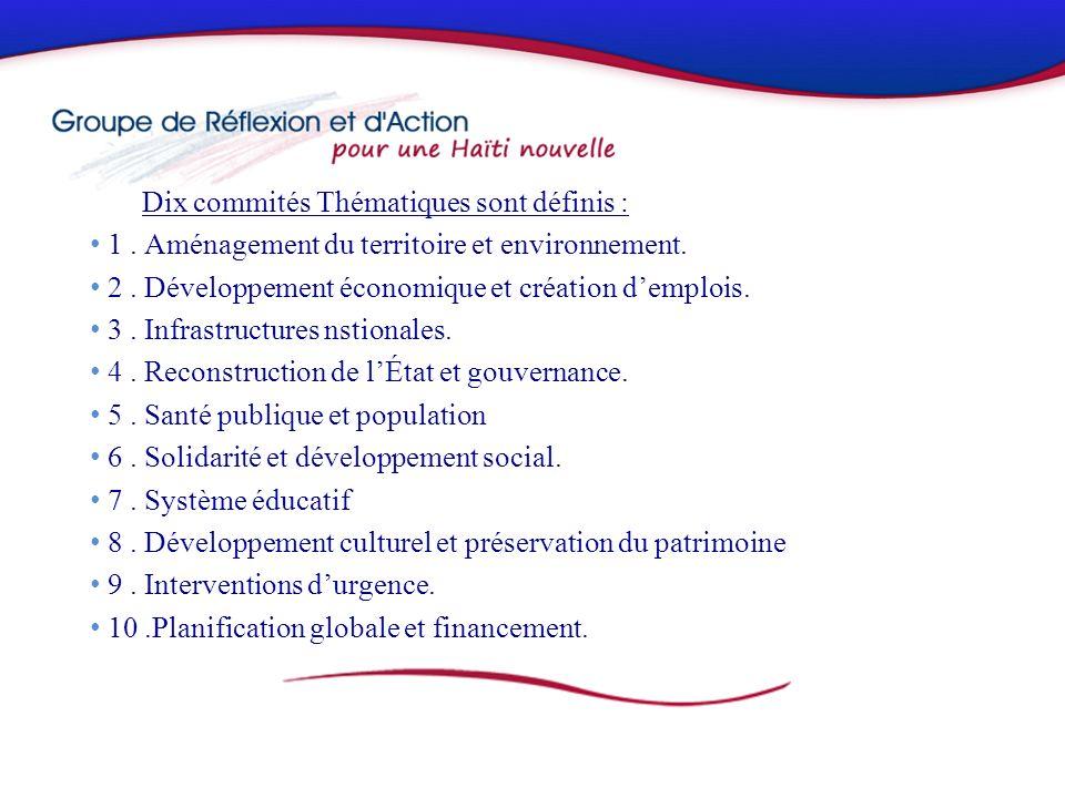 Dix commités Thématiques sont définis : 1. Aménagement du territoire et environnement.