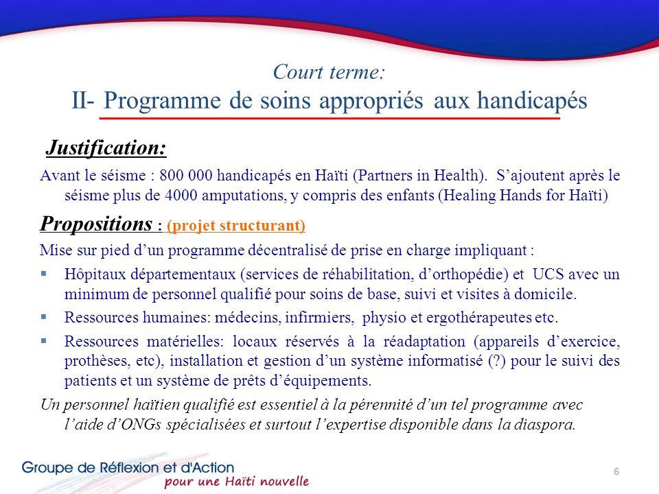 Court terme: II- Programme de soins appropriés aux handicapés Justification: Avant le séisme : 800 000 handicapés en Haïti (Partners in Health).