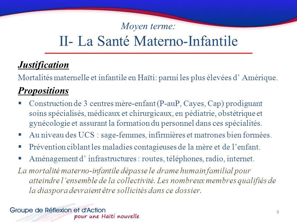 Moyen terme: II- La Santé Materno-Infantile Justification Mortalités maternelle et infantile en Haïti: parmi les plus élevées d Amérique.