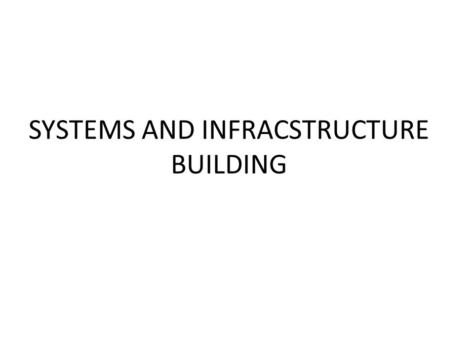 SYSTEMS AND INFRACSTRUCTURE BUILDING