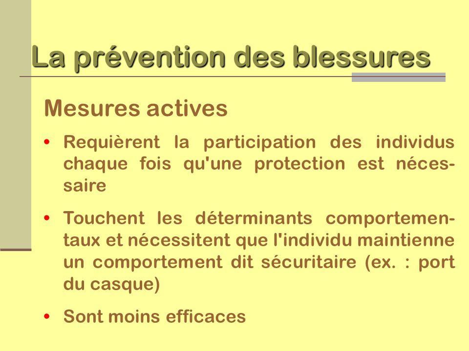 Catégories de prévention des blessures Prévention primaire éliminer l événement Prévention secondaire diminuer l effet Prévention tertiaire améliorer le résultat