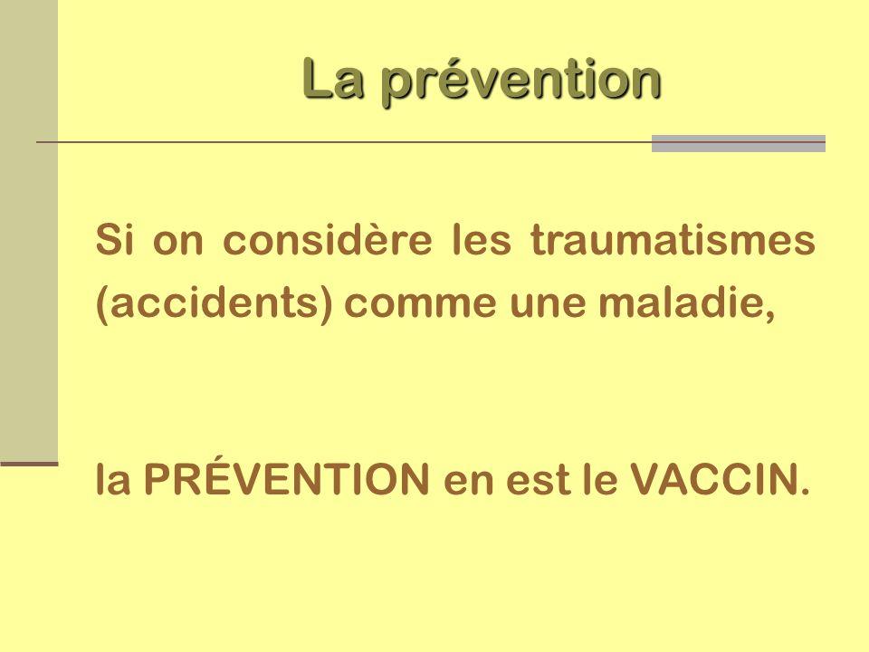 Si on considère les traumatismes (accidents) comme une maladie, la PRÉVENTION en est le VACCIN. La prévention