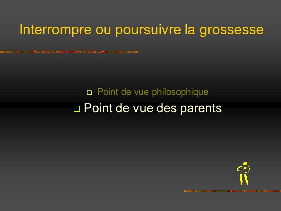 Interrompre ou poursuivre la grossesse Point de vue philosophique Point de vue des parents