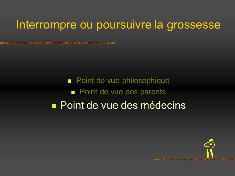Interrompre ou poursuivre la grossesse Point de vue philosophique Point de vue des parents Point de vue des médecins