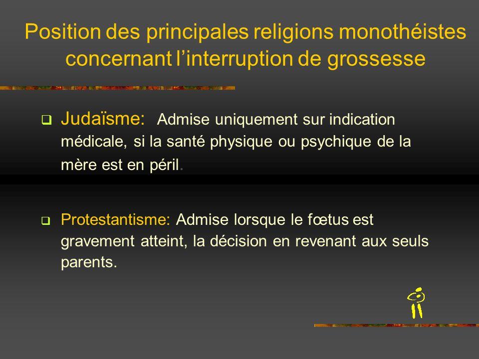 Position des principales religions monothéistes concernant linterruption de grossesse Judaïsme: Admise uniquement sur indication médicale, si la santé