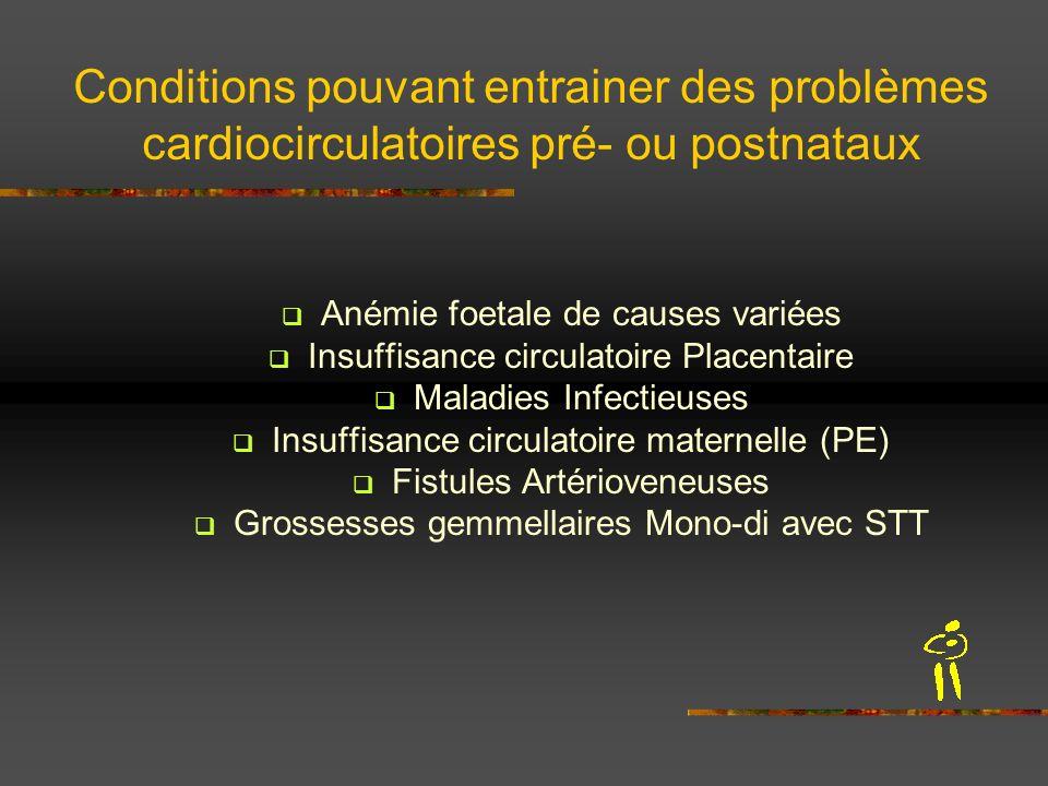 Conditions pouvant entrainer des problèmes cardiocirculatoires pré- ou postnataux Anémie foetale de causes variées Insuffisance circulatoire Placentai