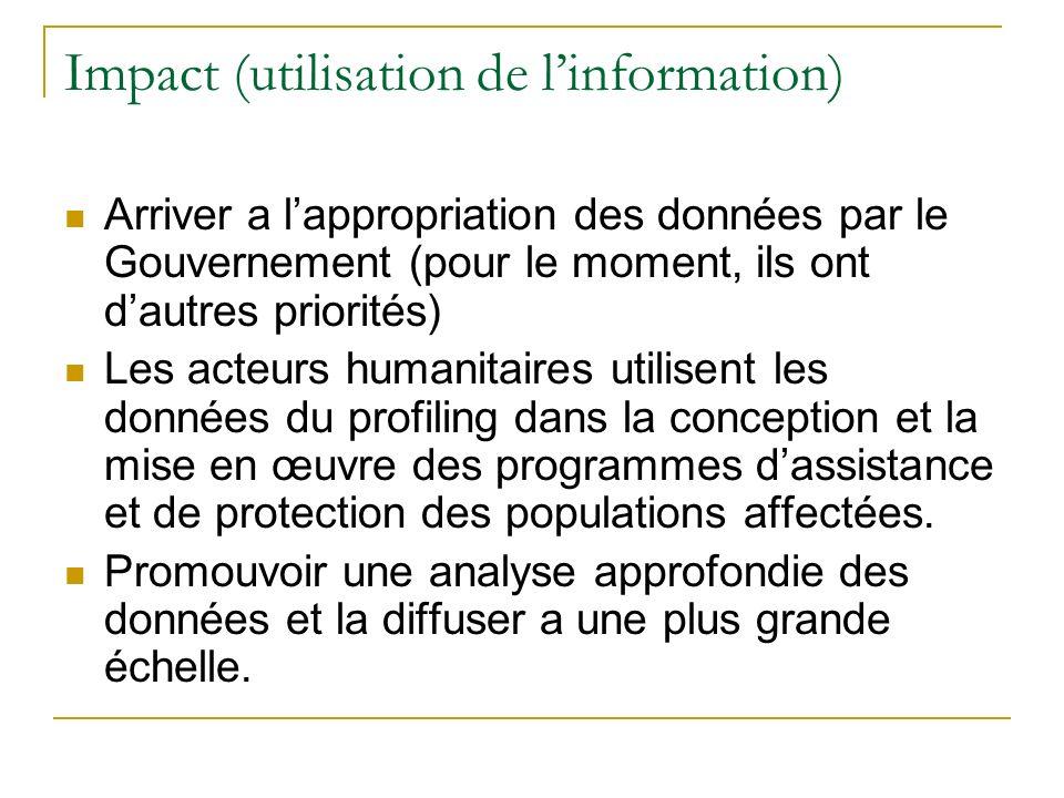 Impact (utilisation de linformation) Arriver a lappropriation des données par le Gouvernement (pour le moment, ils ont dautres priorités) Les acteurs