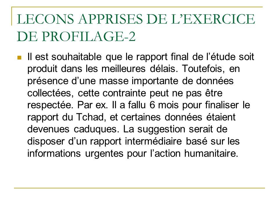 LECONS APPRISES DE LEXERCICE DE PROFILAGE-2 Il est souhaitable que le rapport final de létude soit produit dans les meilleures délais. Toutefois, en p