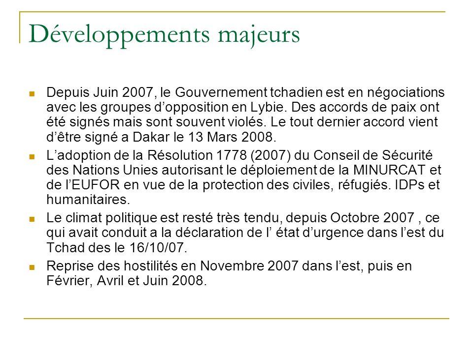 Développements majeurs Depuis Juin 2007, le Gouvernement tchadien est en négociations avec les groupes dopposition en Lybie. Des accords de paix ont é