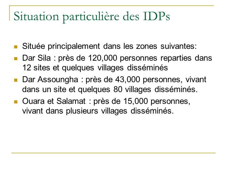 Situation particulière des IDPs Située principalement dans les zones suivantes: Dar Sila : près de 120,000 personnes reparties dans 12 sites et quelques villages disséminés Dar Assoungha : près de 43,000 personnes, vivant dans un site et quelques 80 villages disséminés.