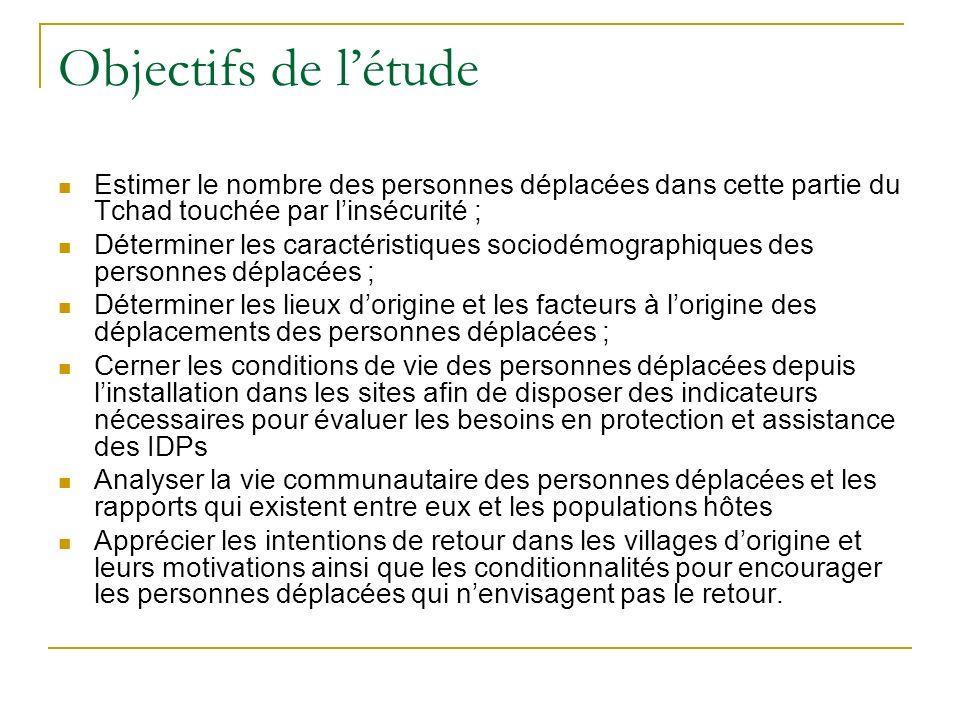 Objectifs de létude Estimer le nombre des personnes déplacées dans cette partie du Tchad touchée par linsécurité ; Déterminer les caractéristiques sociodémographiques des personnes déplacées ; Déterminer les lieux dorigine et les facteurs à lorigine des déplacements des personnes déplacées ; Cerner les conditions de vie des personnes déplacées depuis linstallation dans les sites afin de disposer des indicateurs nécessaires pour évaluer les besoins en protection et assistance des IDPs Analyser la vie communautaire des personnes déplacées et les rapports qui existent entre eux et les populations hôtes Apprécier les intentions de retour dans les villages dorigine et leurs motivations ainsi que les conditionnalités pour encourager les personnes déplacées qui nenvisagent pas le retour.