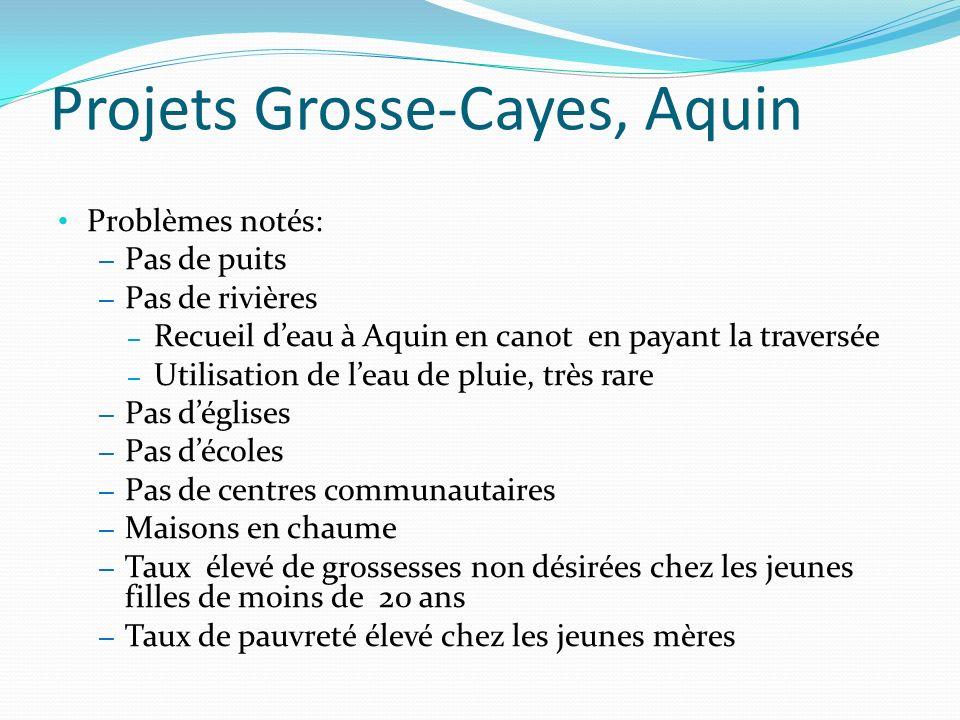 Projets Grosse-Cayes, Aquin Problèmes notés: – Pas de puits – Pas de rivières – Recueil deau à Aquin en canot en payant la traversée – Utilisation de