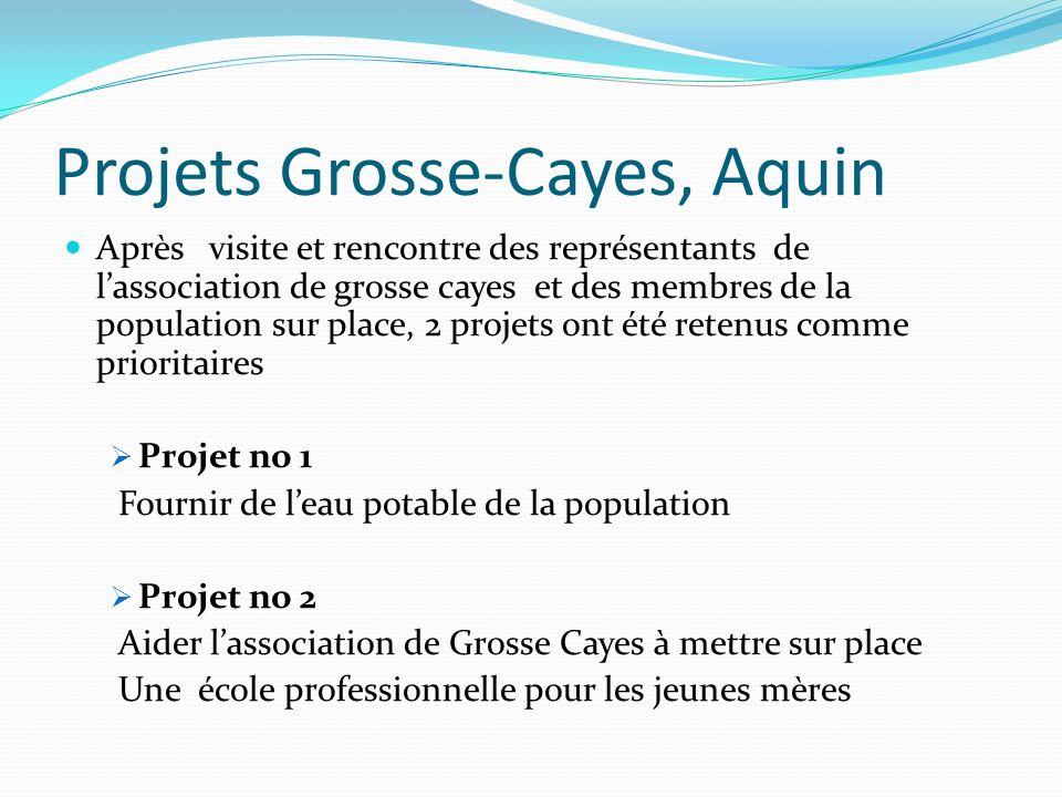 Projets Grosse-Cayes, Aquin Après visite et rencontre des représentants de lassociation de grosse cayes et des membres de la population sur place, 2 p