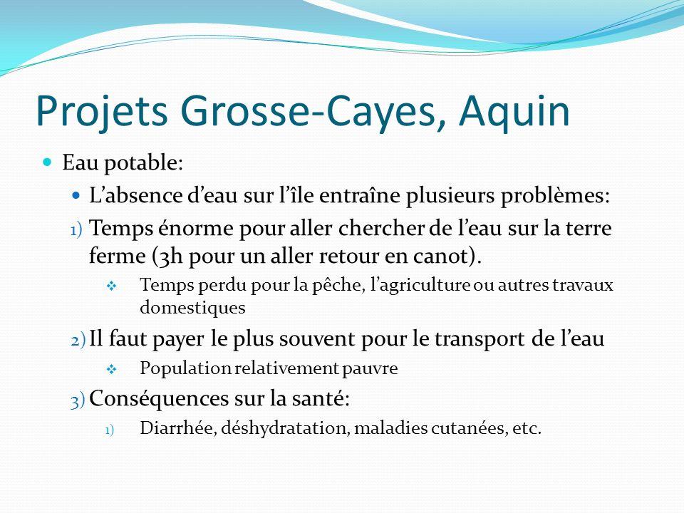 Projets Grosse-Cayes, Aquin Eau potable: Labsence deau sur lîle entraîne plusieurs problèmes: 1) Temps énorme pour aller chercher de leau sur la terre