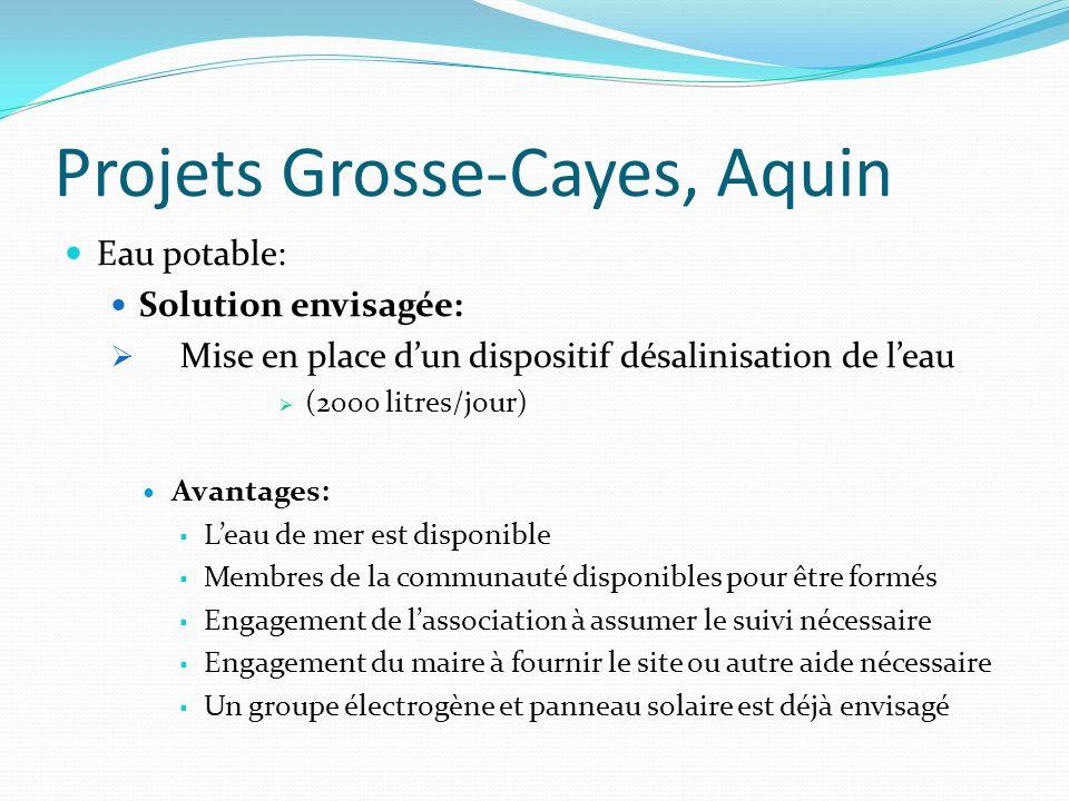 Projets Grosse-Cayes, Aquin Eau potable: Solution envisagée: Mise en place dun dispositif désalinisation de leau (2000 litres/jour) Avantages: Leau de