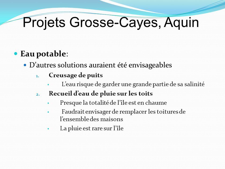 Eau potable: Dautres solutions auraient été envisageables 1. Creusage de puits Leau risque de garder une grande partie de sa salinité 2. Recueil deau