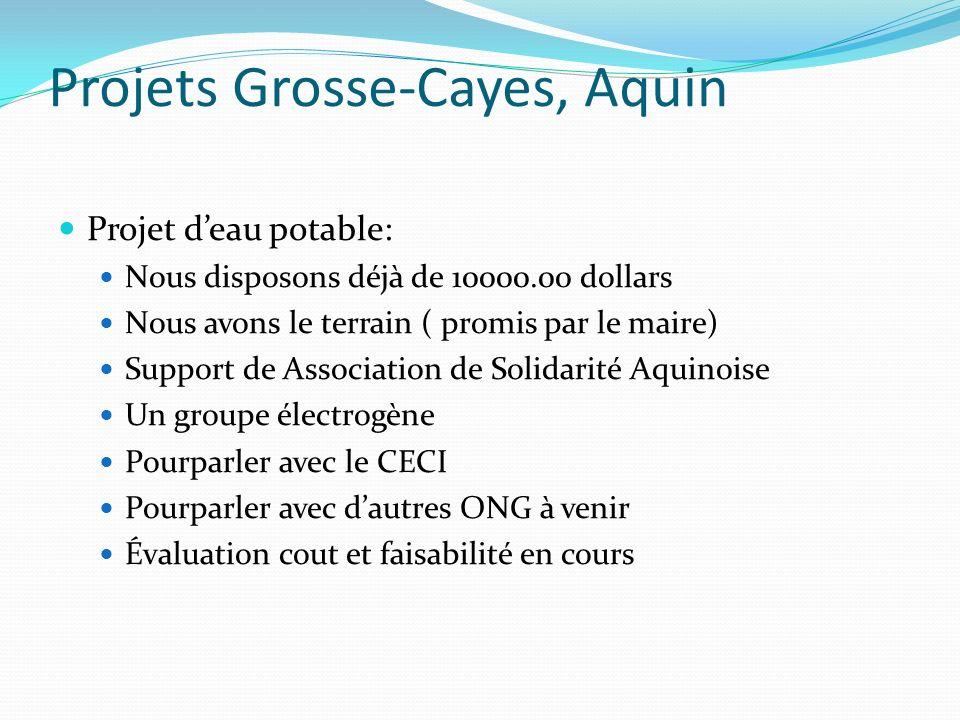 Projets Grosse-Cayes, Aquin Projet deau potable: Nous disposons déjà de 10000.00 dollars Nous avons le terrain ( promis par le maire) Support de Assoc